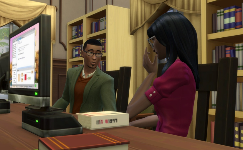 Gavin Richards flirts with the librarian at Willow Creek Archive, Jaime Dai.