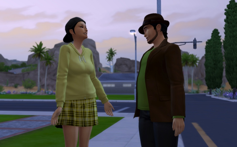 Mitchell Kalani flirts with Sienna Reaves on the street in Oasis Springs.