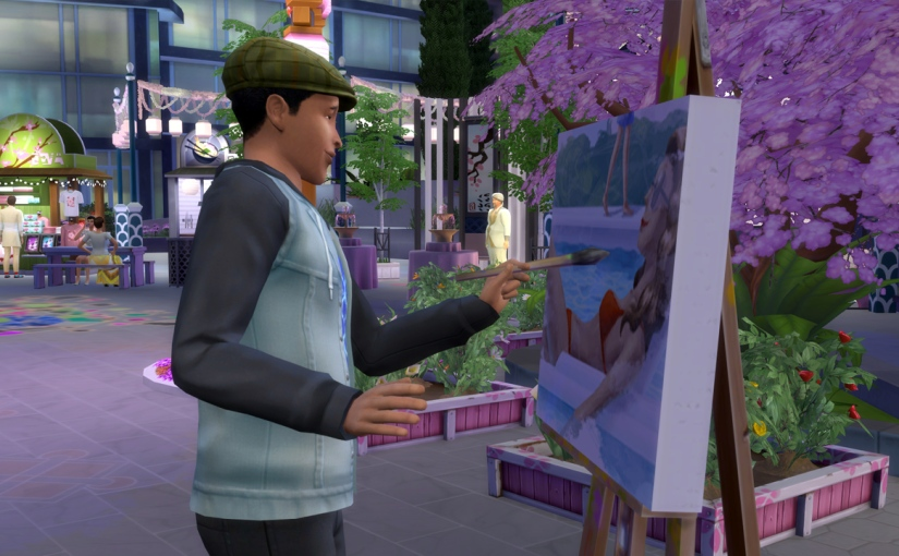 Ollie Purdue paints at the Romance Festival.