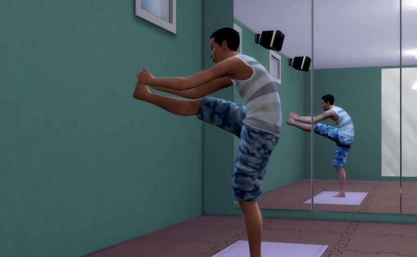Ollie Purdue does yoga at The Fitbox gym.